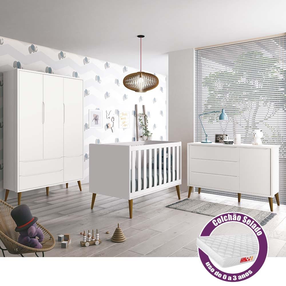 Dormitório Infantil Théo Retro com Guarda Roupa 3 Portas, Berço, Cômoda Sapateira e Colchão - Reller