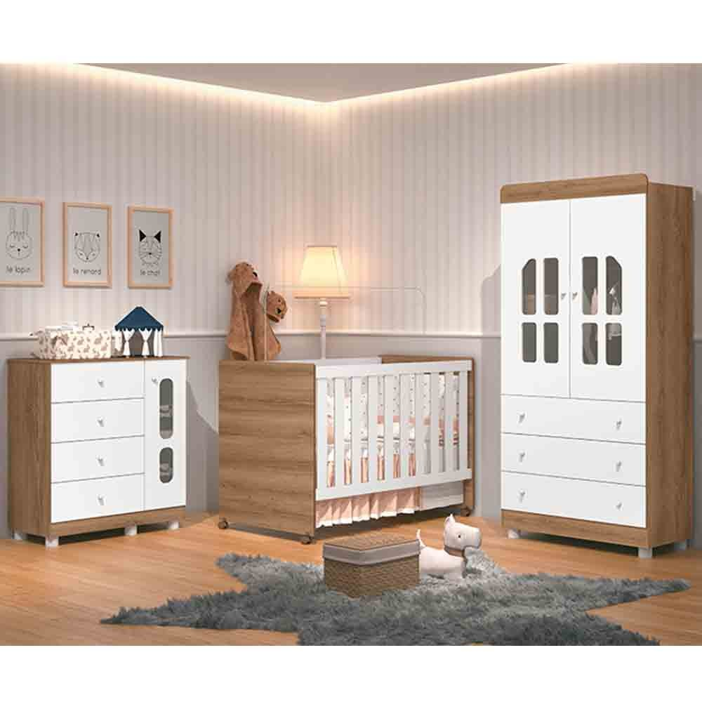 Dormitório Katatau Com Guarda Roupa 2 Portas + Cômoda + Berço  - Branco/Menzzo - Reller
