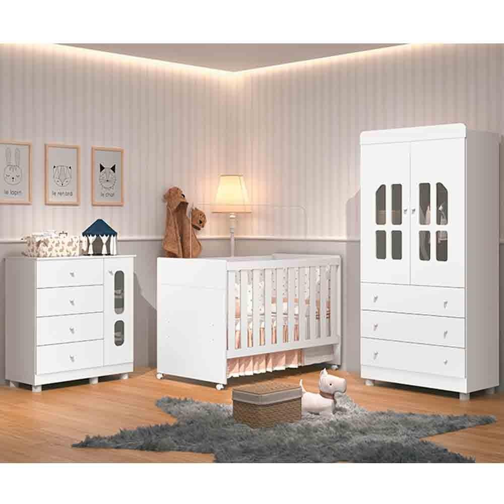 Dormitório Katatau Com Guarda Roupa 2 Portas + Cômoda + Berço  - Branco - Reller