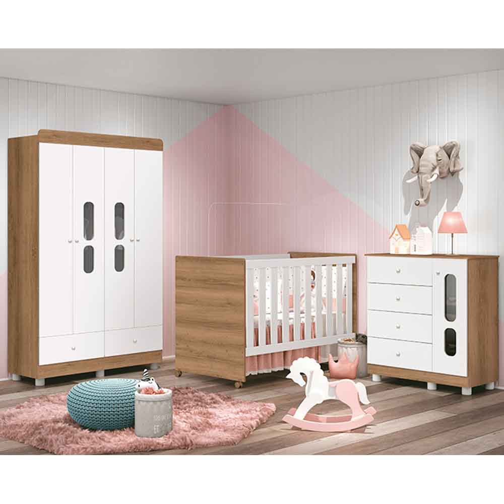 Dormitório Katatau Com Guarda Roupa 4 Portas + Cômoda + Berço  -Branco/Menzzo - Reller