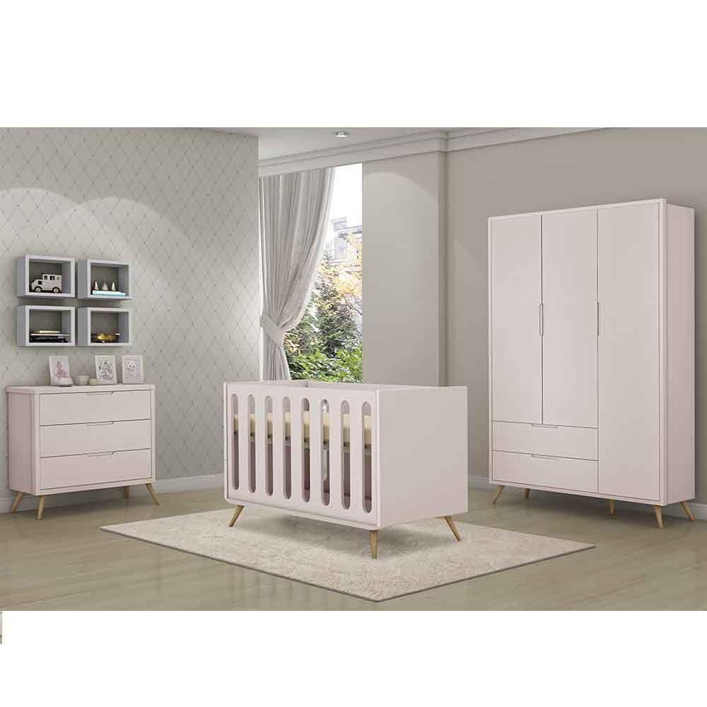 Dormitório Old Retrô Com Guarda Roupa + Cômoda + Berço Mini Cama - Planet Baby