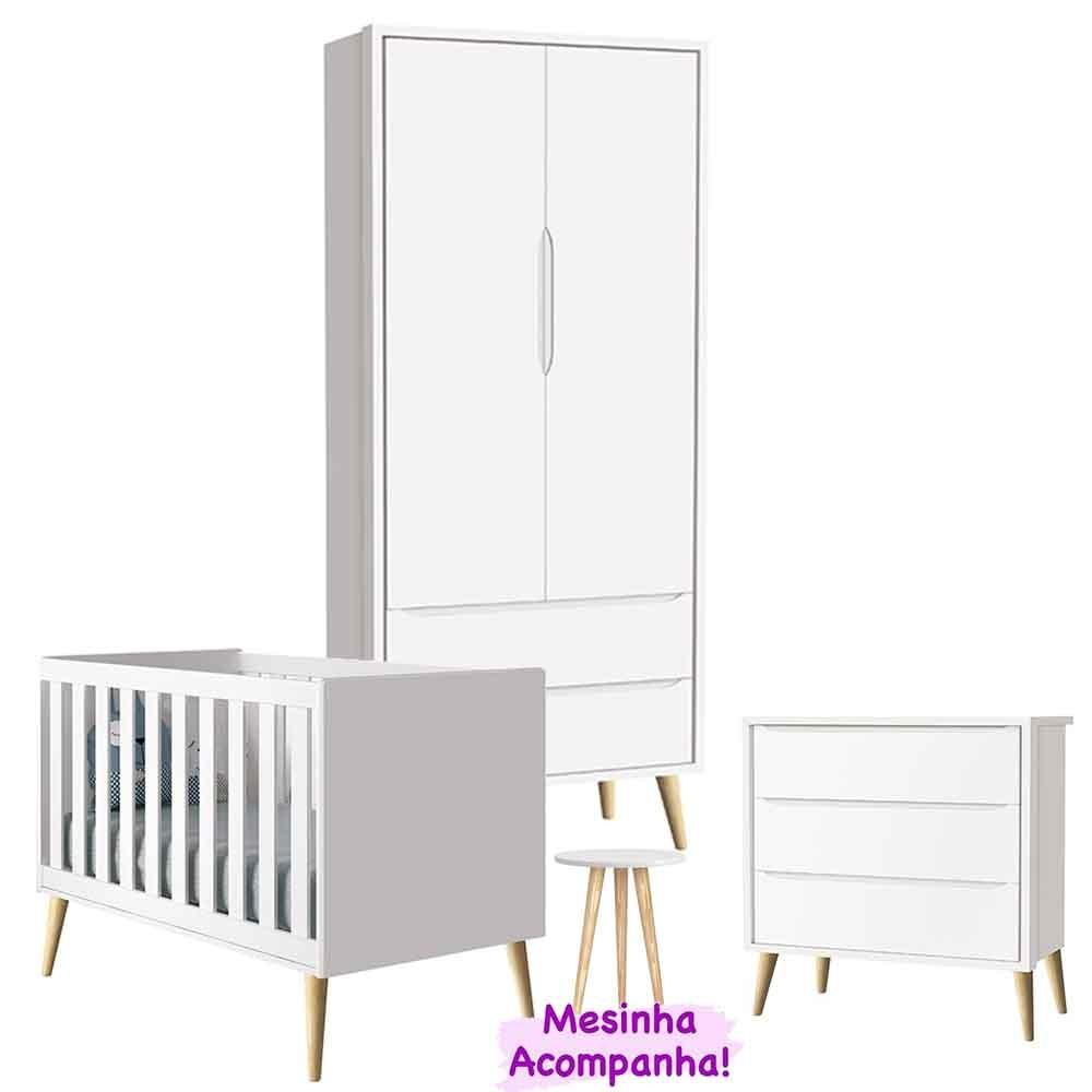 Dormitório Theo Retro Com Guarda Roupa 2 Portas + Cômoda + Berço Branco - Reller