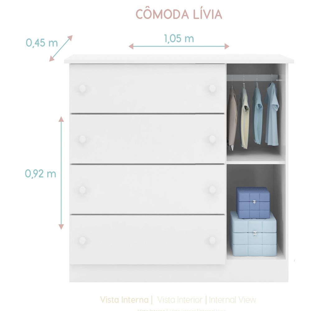 Guarda Roupa 04 Portas + Cômoda Livia - Phoenix Baby