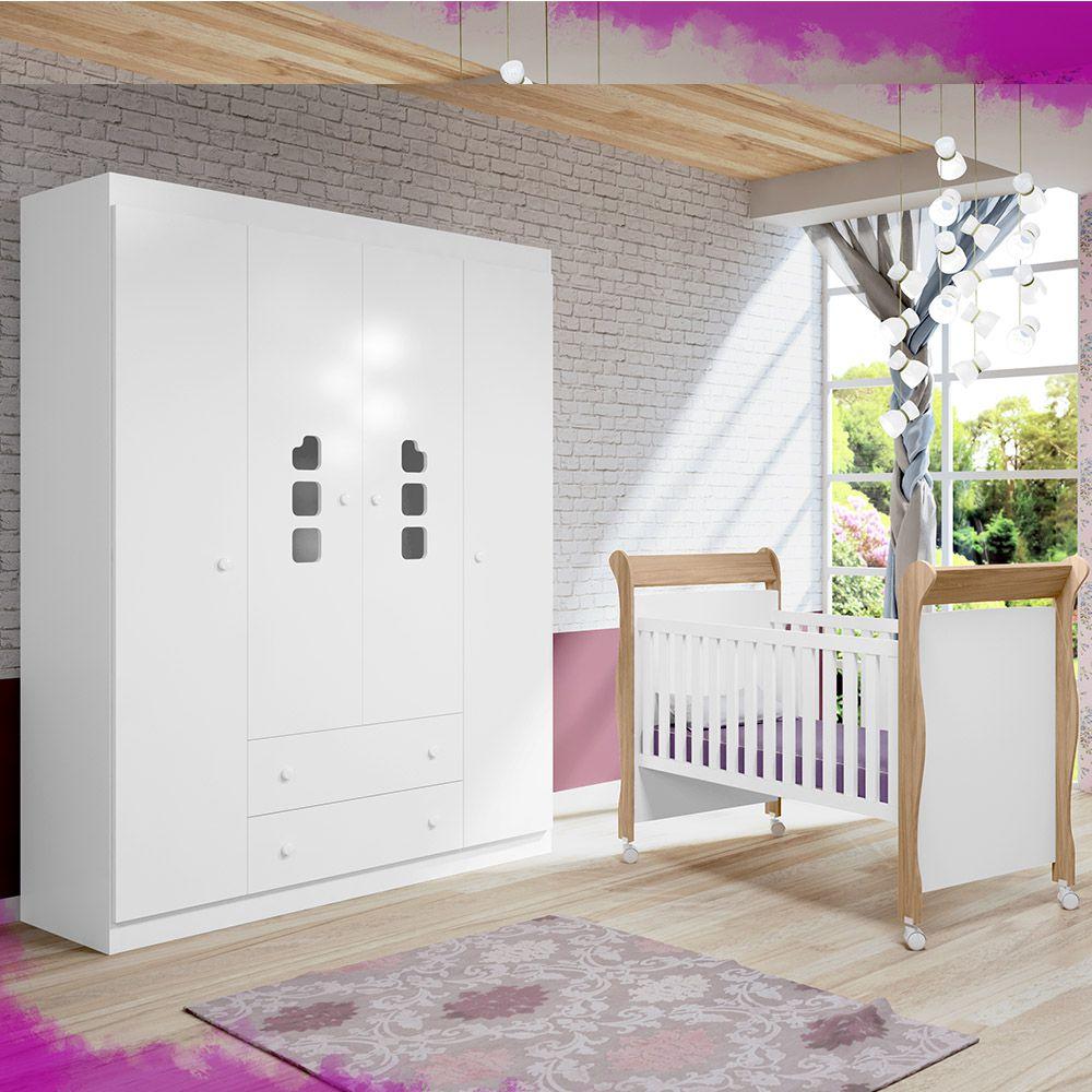 Guarda Roupa 4 Portas Ana Livia + Berço 251 Mini Cama  - Phoenix Baby