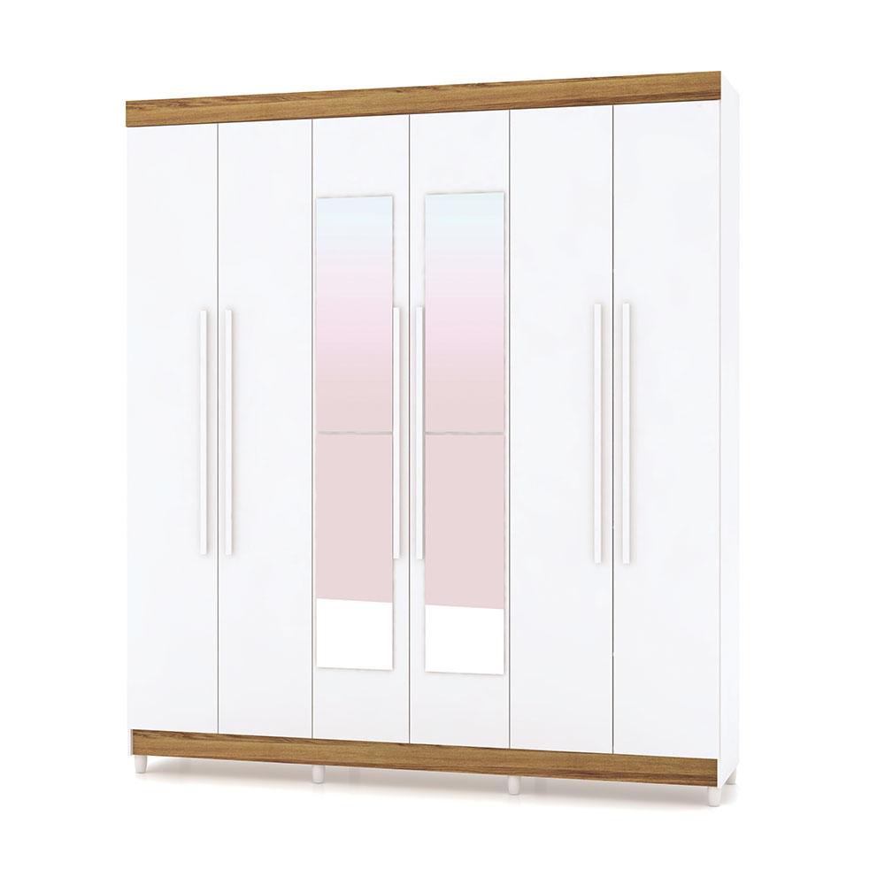 Guarda-Roupa 6 Portas Elegance Com Espelho - Vila Rica Branco/Canela