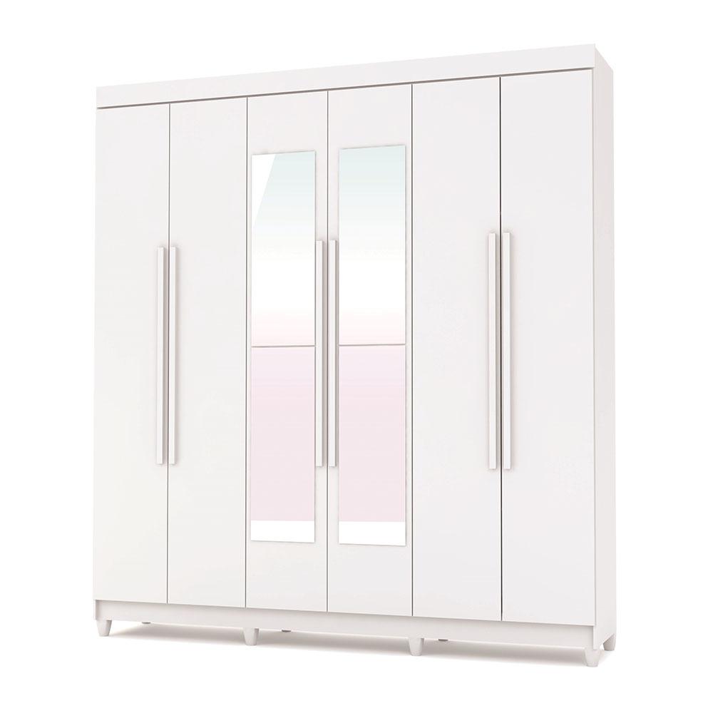 Guarda-Roupa 6 Portas Elegance Com Espelho - Vila Rica Branco