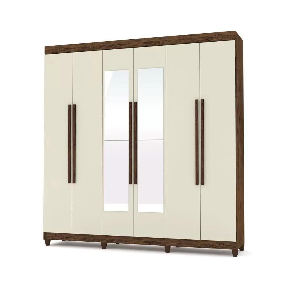 Guarda-Roupa 6 Portas Elegance Com Espelho - Vila Rica Champanhe/Imbuia