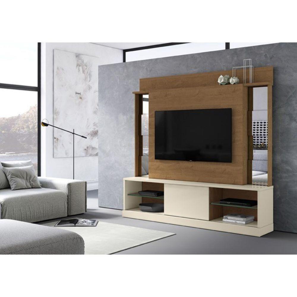 Home Doha Para Tv 65 Polegadas Com Espelho Nature Off White - Mobler
