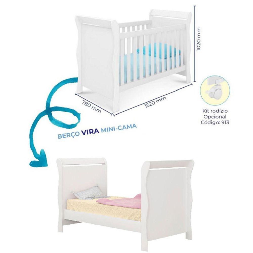 Jogo De Quarto Guarda Roupa 4 Portas, Cômoda Ana Livia + Berço 251 + Colchão - Phoenix Baby