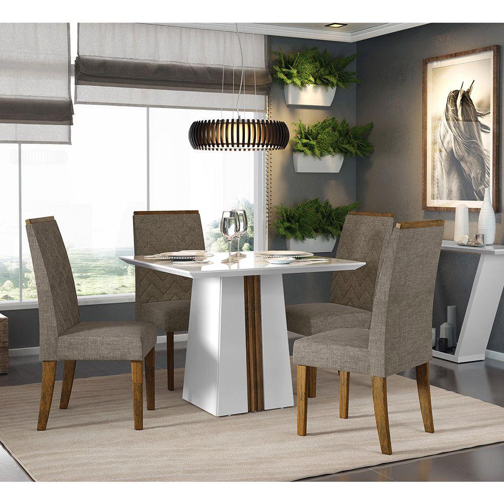 Jogo De Sala De Jantar Com Mesa Itália 1,00  Tampo Chanfrado + 4 Cadeiras Áurea - Dj Móveis