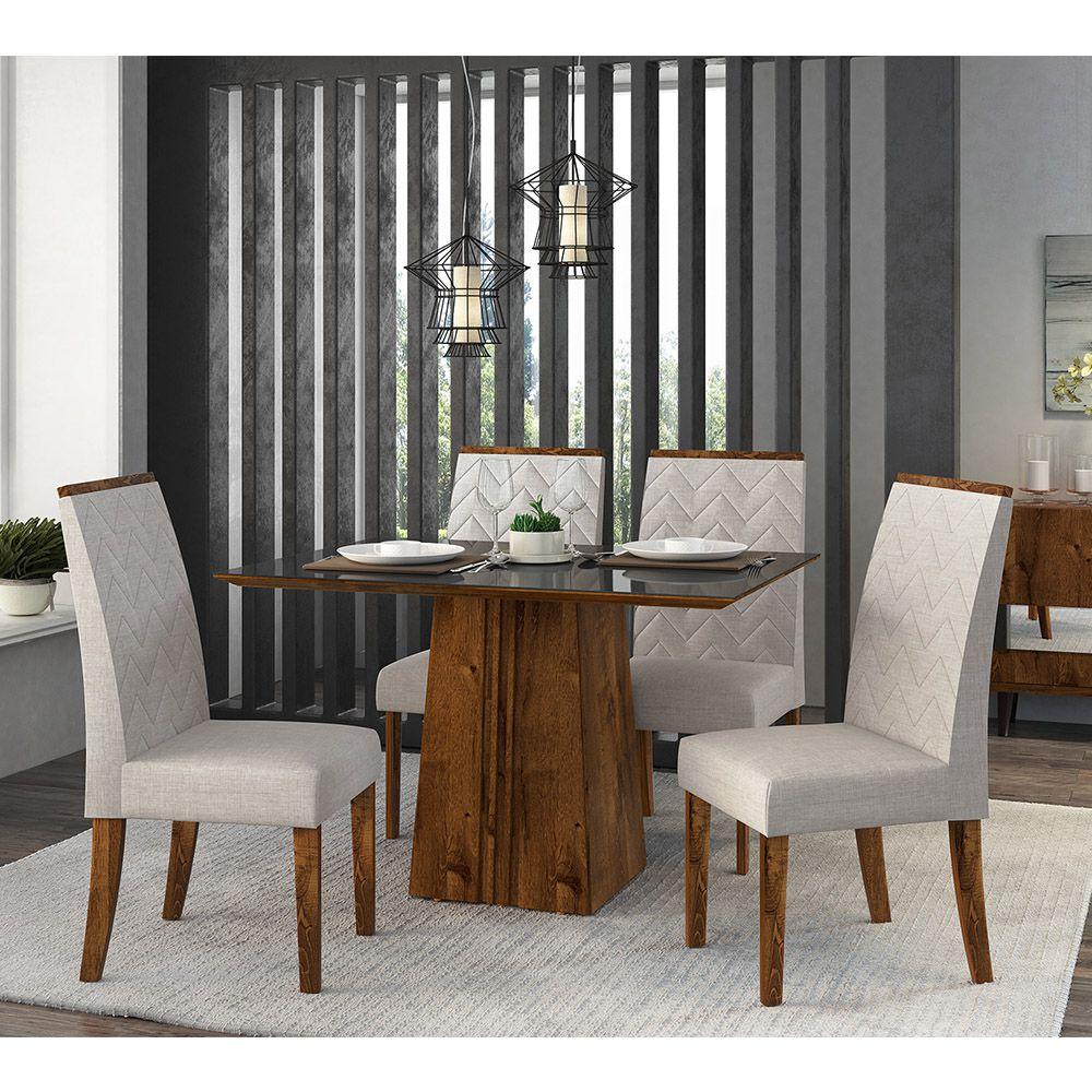 Jogo De Sala De Jantar Com Mesa Itália 1,20  Tampo Chanfrado + 4 Cadeiras Áurea - Dj Móveis