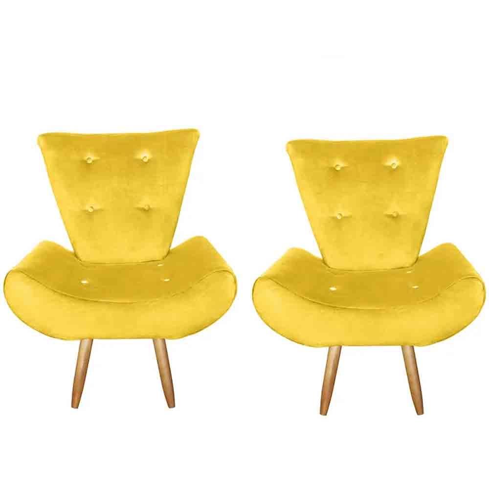Kit com 2 Poltronas Cadeira Decorativa Ane Amarelo - EM Móveis
