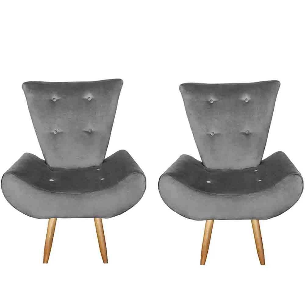 Kit com 2 Poltronas Cadeira decorativa Ane Cinza- EM Móveis