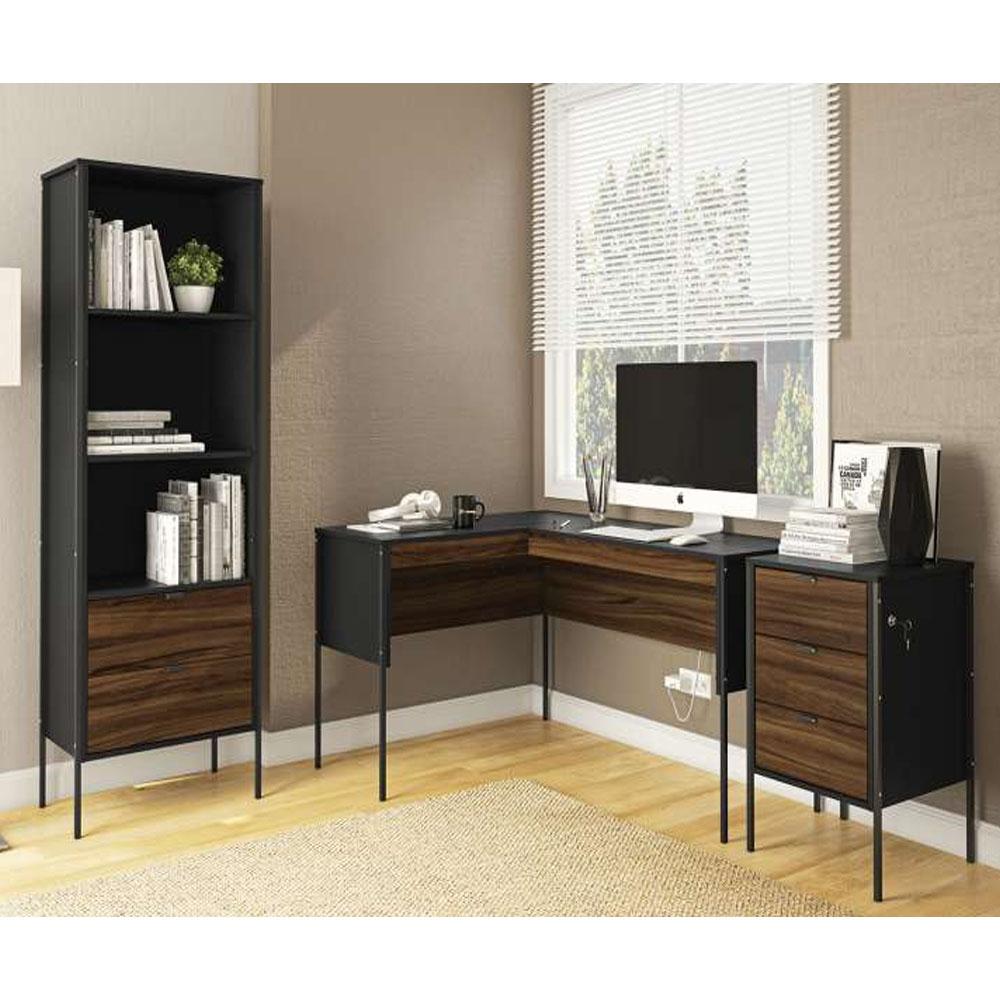 mesa de canto + gaveteiro + estante - Politorno - Preto/ New Avelã