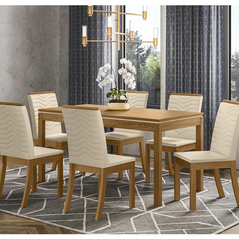 Mesa de Jantar Chan Retangular 140 x 80 cm 6 Cadeiras Isa - Henn