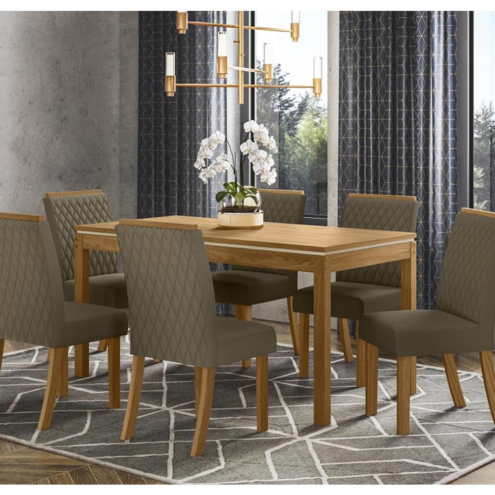Mesa de Jantar Chan Retangular 140 x 80 cm 6 Cadeiras Vega - Henn