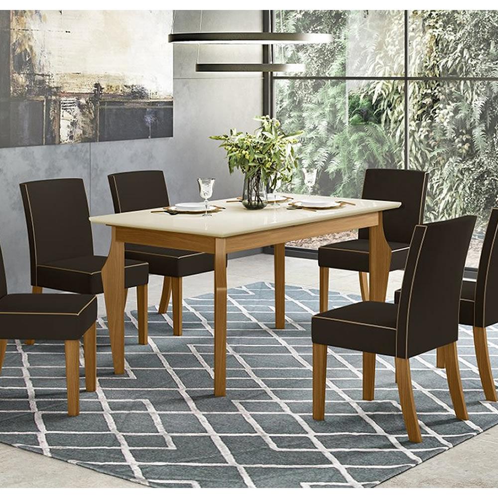Mesa de Jantar Ghala 160 x 90cm 6 Cadeiras Maris - Henn