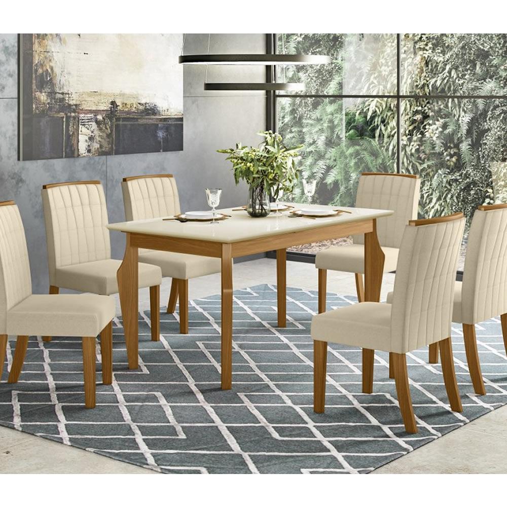 Mesa de Jantar Ghala 160 x 90cm 6 Cadeiras Tauá - Henn