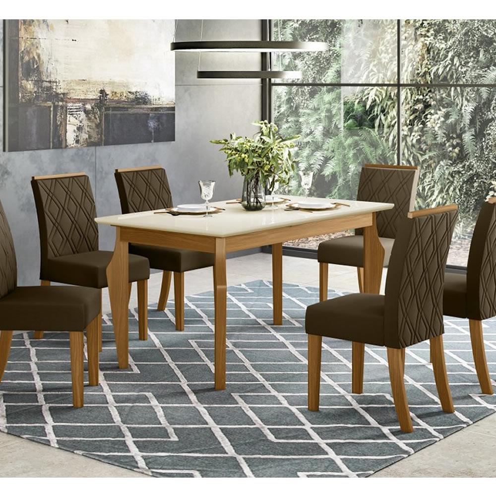 Mesa de Jantar Ghala 160 x 90cm 6 Cadeiras Vita - Henn