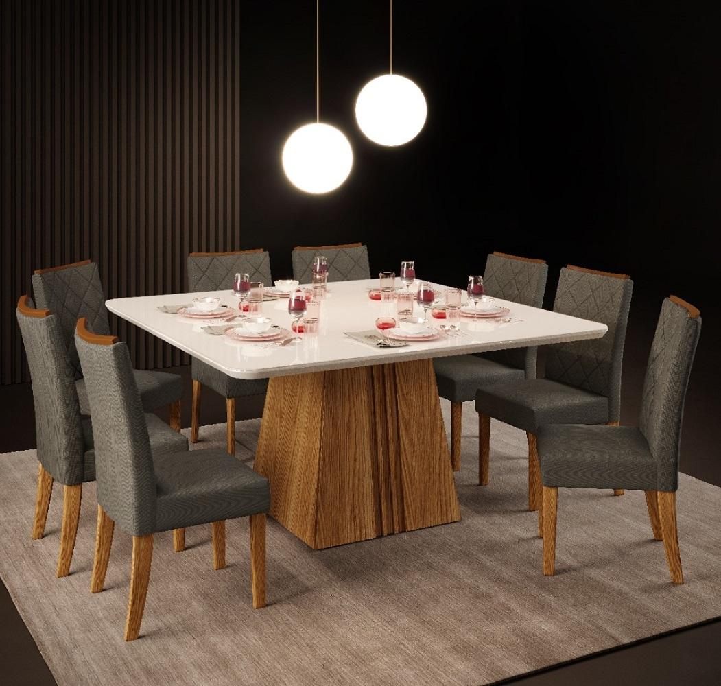 Mesa de Jantar Itália Tampo Madeira Chanfrado Com Vidro + 8 Cadeiras Golden Carvalho Nobre/Off White - Suede Chumbo - Dj Móveis