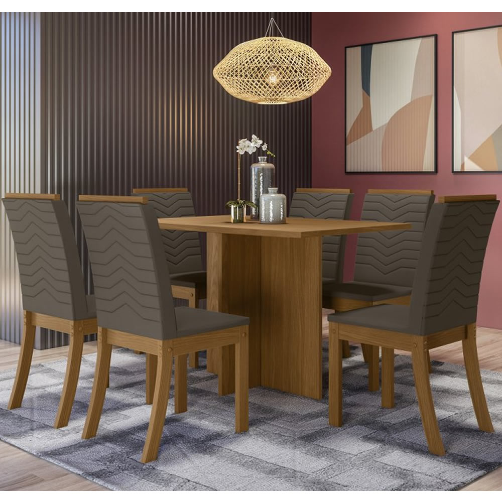 Mesa de Jantar Nadi Retangular 140 x 80 cm 6 Cadeiras Isa - Henn