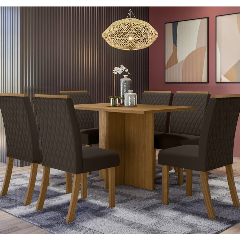 Mesa de Jantar Nadi Retangular 140 x 80 cm 6 Cadeiras Vega - Henn
