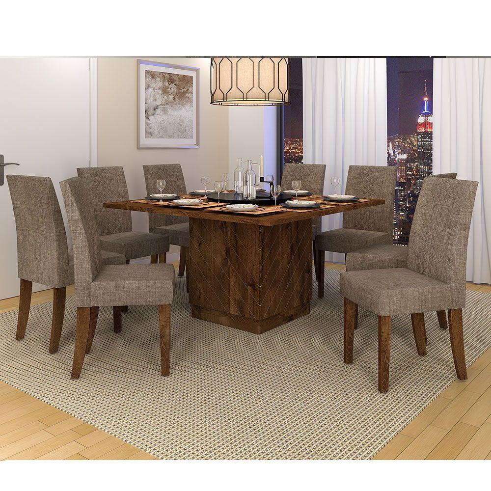 Mesa De Jantar Vince + 8 Cadeiras Olímpia  + Tampo Giratório - Dj Móveis