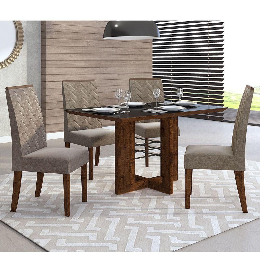 Mesa Latina Com Tampo Chanfrado + Cadeira Aurea Linho Broze - Dj Móveis