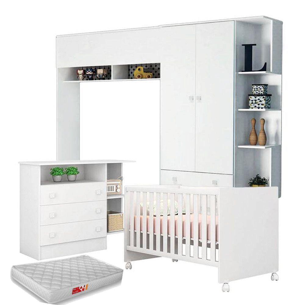 Módulo Infantil Com Guarda Roupa 2 Portas + Berço Mini Cama 100 + Cômoda Doce Sonho + Colchão - Qmovi