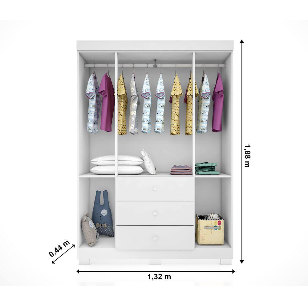 Quarto Completo Alice Com Guarda Roupa 4 Portas + Cômoda + Berço Mini Cama 230