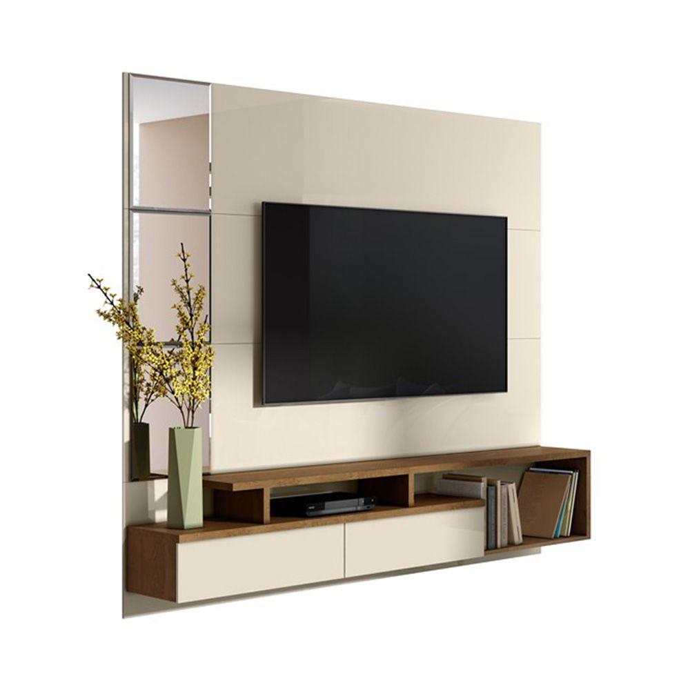 Painel Venice Para Tv 58 Polegadas Com Espelho Off white-Nature - Mobler