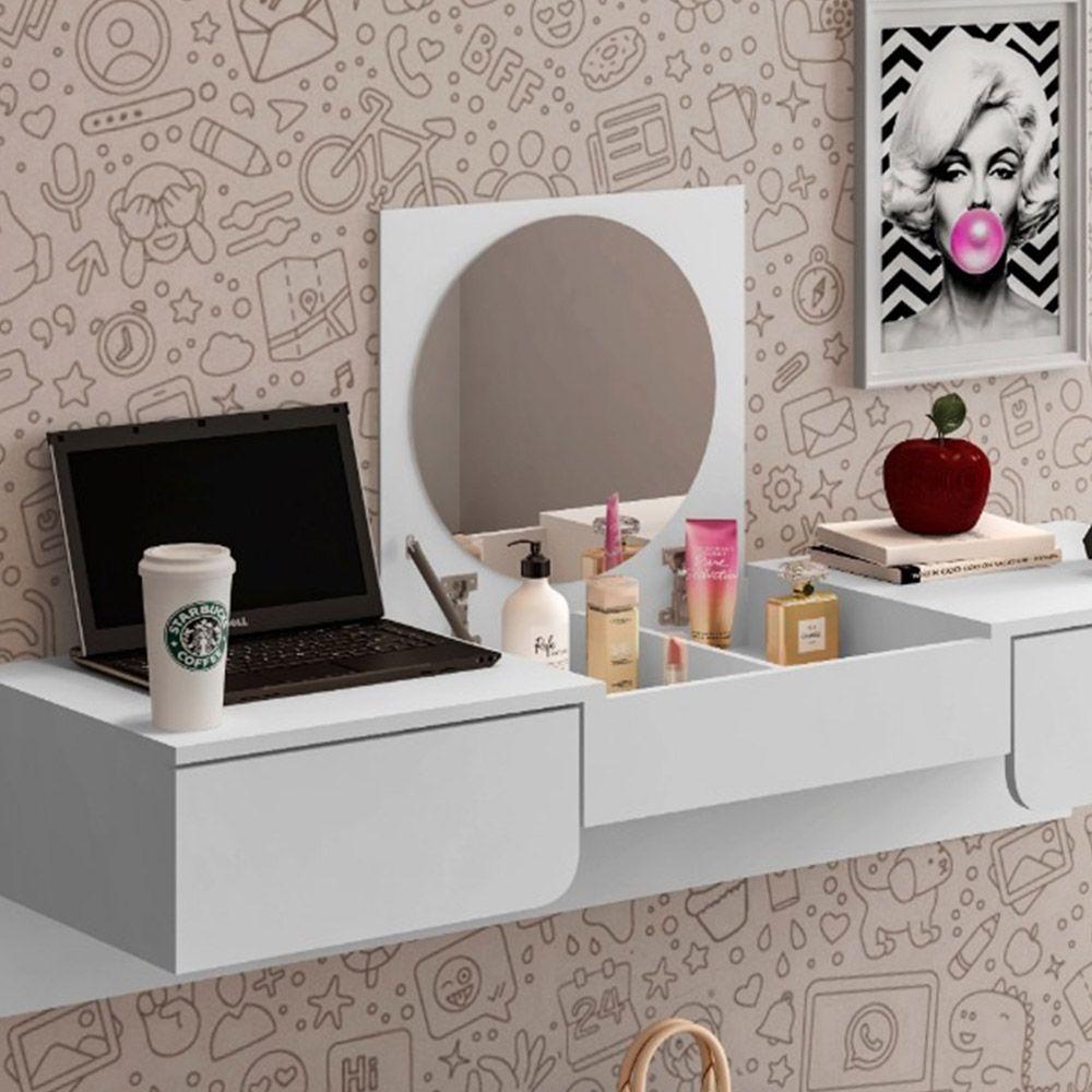 Penteadeira Escrivaninha Suspensa Chanel - Branco Fosco