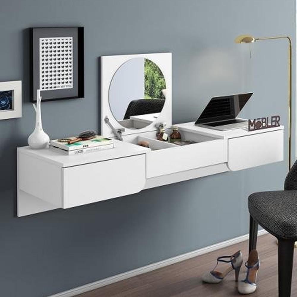Penteadeira Escrivaninha Suspensa Elegance - Branco Fosco