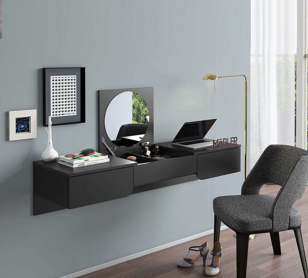 Penteadeira Escrivaninha Suspensa Elegance - Preto Fosco