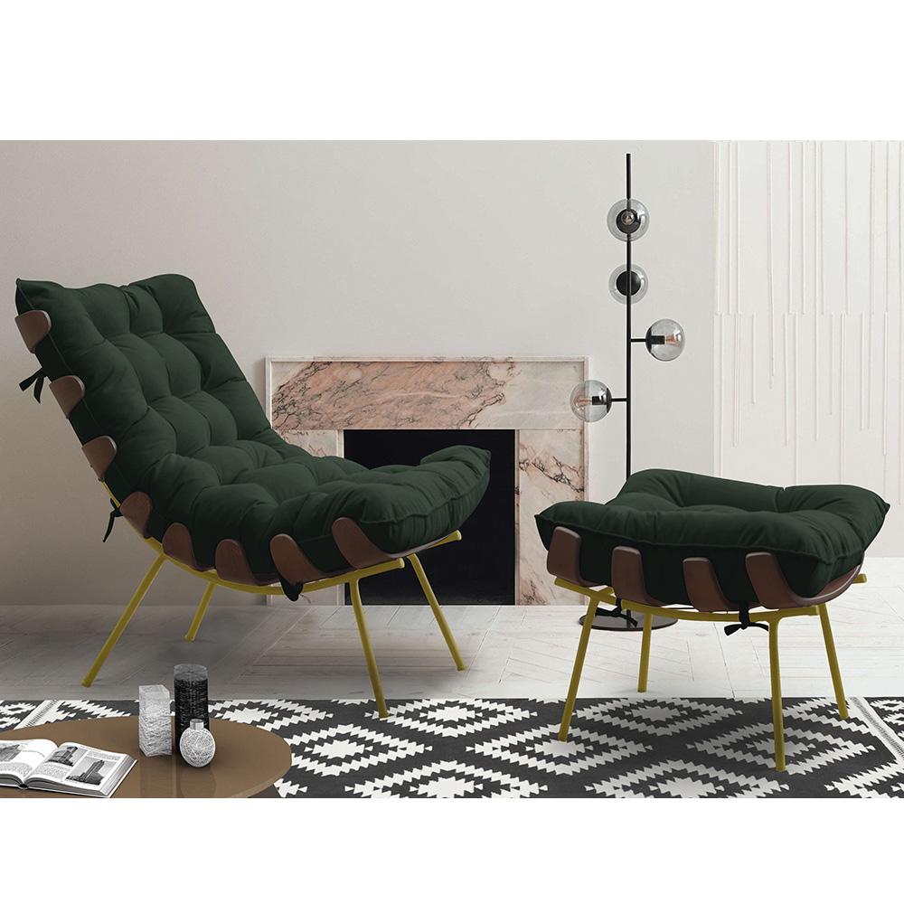 Poltrona Costela + Puff  Pés em Metal - Veludo Verde - EM Moveis