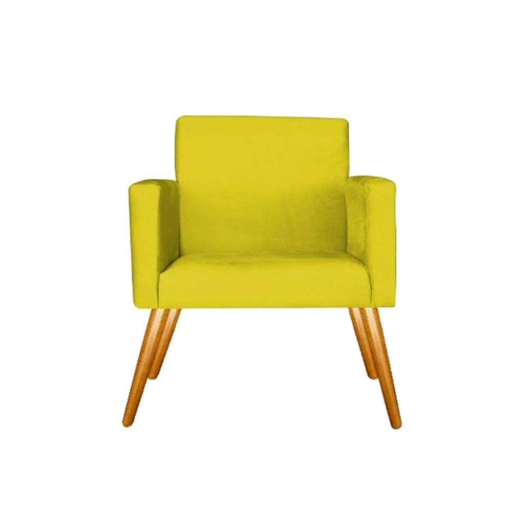 Poltrona Decorativa Emile Pés Palito Suede Amarela