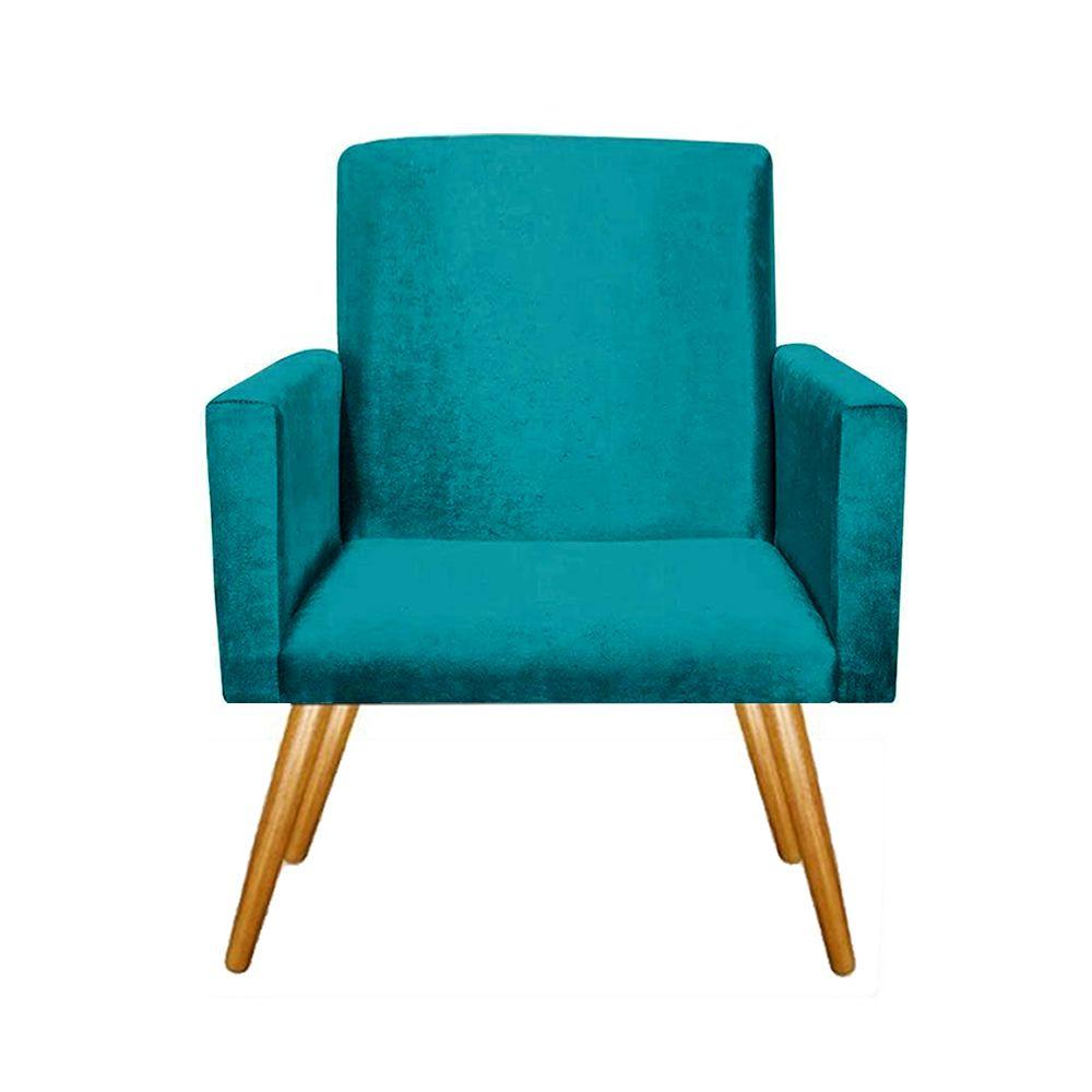 Poltrona Decorativa Emile Pés Palito Suede Azul Tiffany