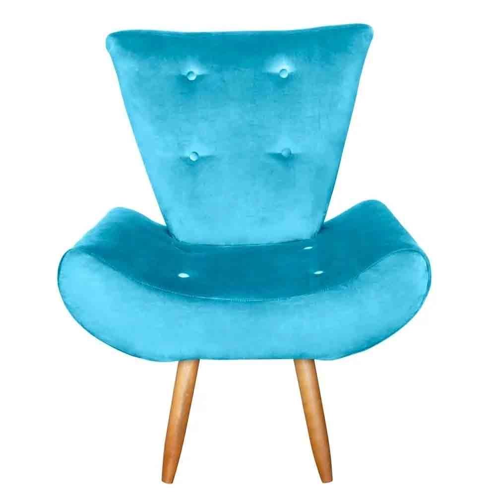 Poltrona Cadeira decorativa Ane Azul - EM Móveis