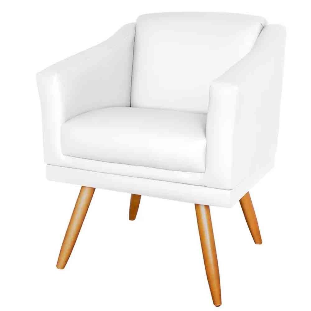 Poltrona San Diego Decorativa Branco Pés Palitos - EM Móveis