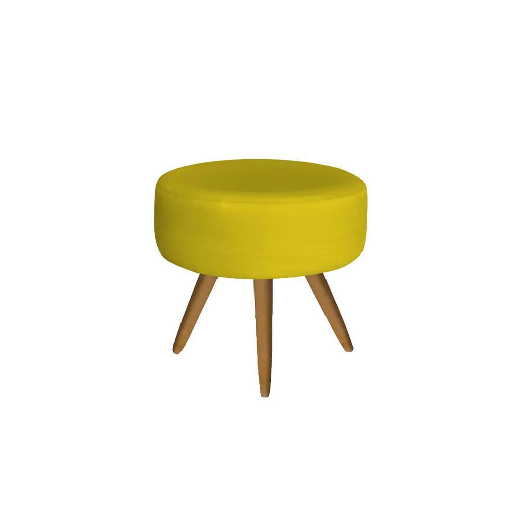 Puff Decorativo Emile Pés Palito Suede Amarela