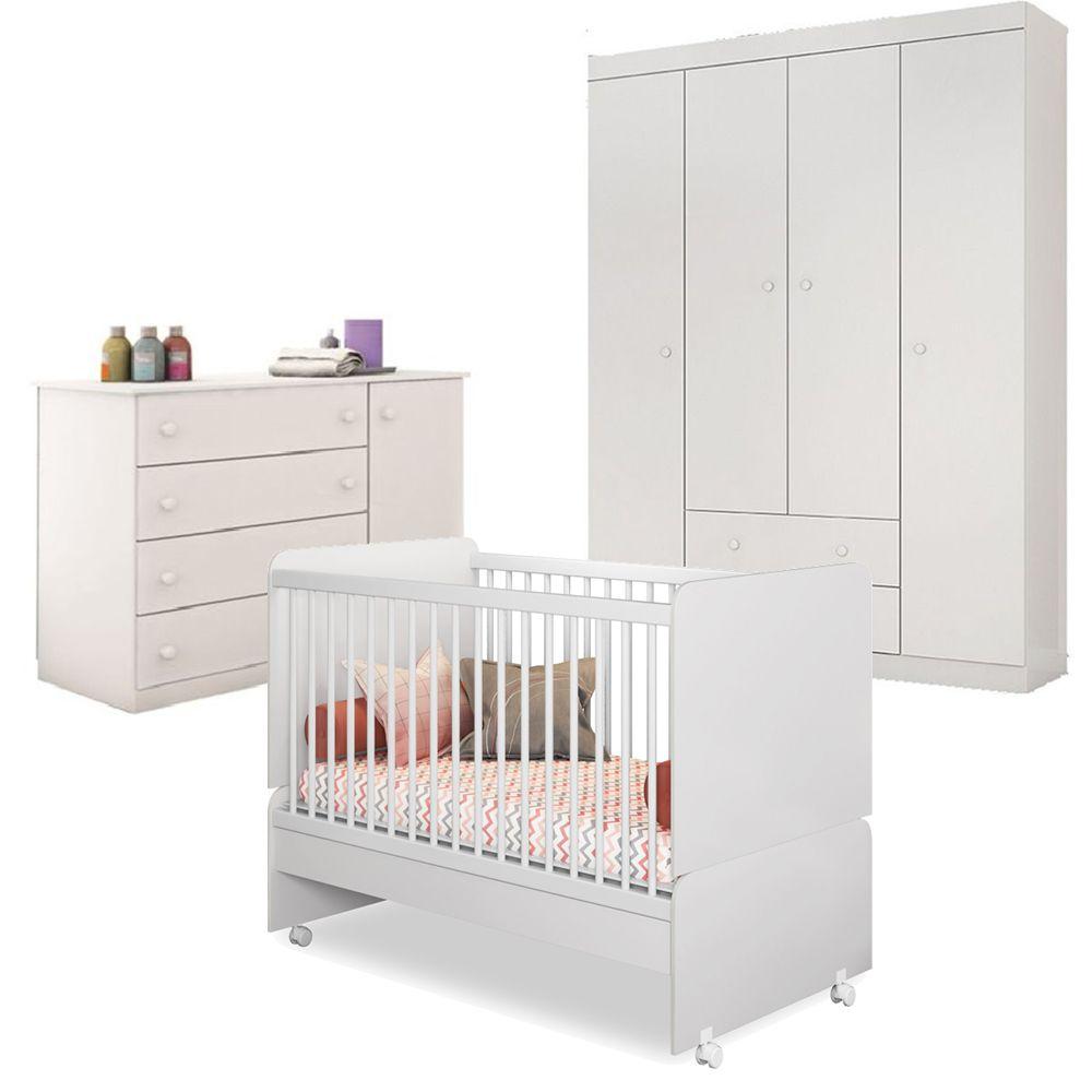 Quarto Bebê com Berço Mini Cama SR + Guarda Roupa + Cômoda Helena - Phoenix