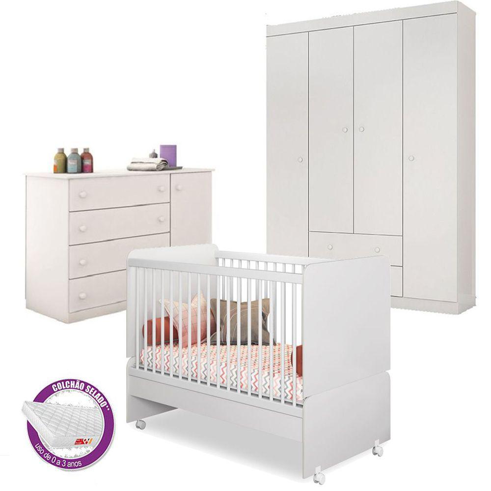 Quarto Bebê com Berço Mini Cama SR + Colchão + Guarda Roupa + Cômoda Helena