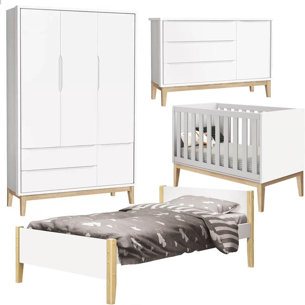 Quarto Bebê com Guarda Roupa 3 Portas + Cômoda + Berço + Cama - Pés Classic Natural - Reller