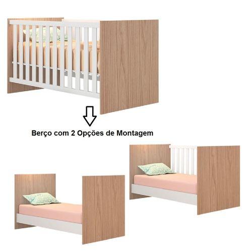 Quarto Bebê Com Guarda Roupa + Cômoda + Berço Doce Sonho 100 + Colchão - Qmovi