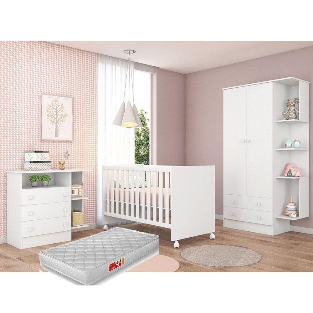 Quarto de Bebê Com Guarda Roupa + Cômoda + Berço Doce Sonho  100 + Colchão - Qmovi