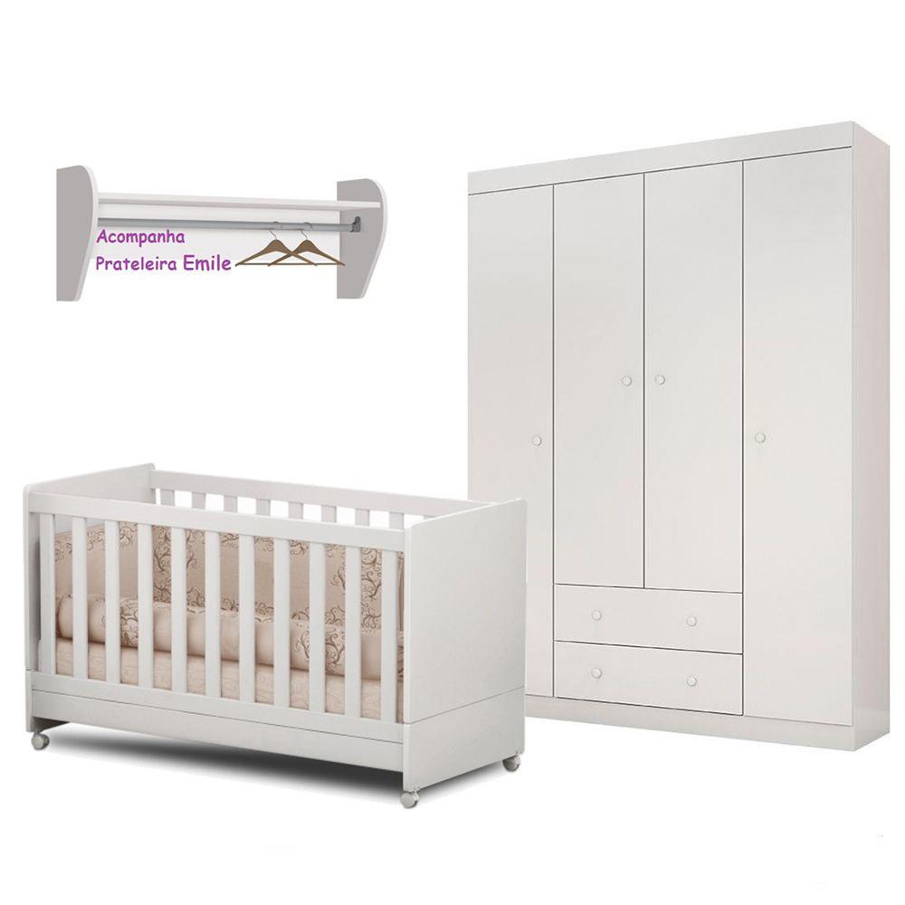 Quarto Bebê Helena Guarda Roupa + Berço Mini Cama + Prateleira - EM Móveis