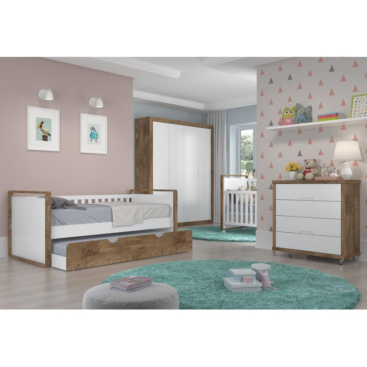 Quarto Completo Para Bebê Com Roupeiro 4 Portas + Cômoda + Cama Babá + Berço Mini Cama Tutto New Matic