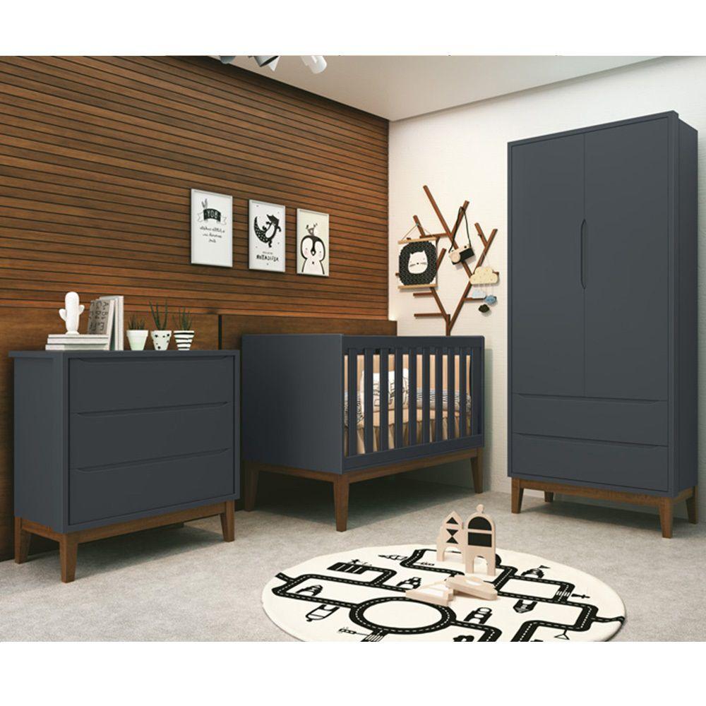 Quarto de Bebê Classic Retrô Com Guarda Roupa 2 Portas + Cômoda + Berço Mini Cama - Reller