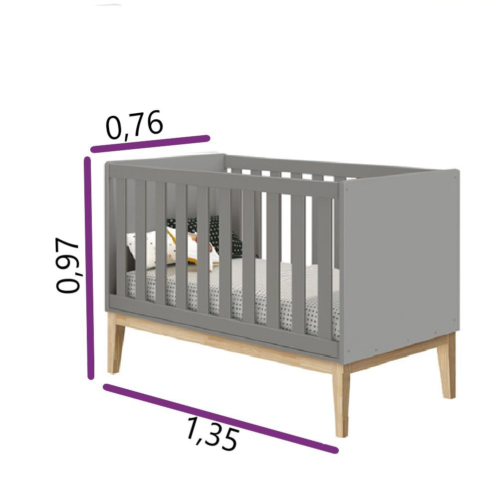Quarto de Bebê Classic Retrô Com Guarda Roupa + Berço Mini Cama - Reller