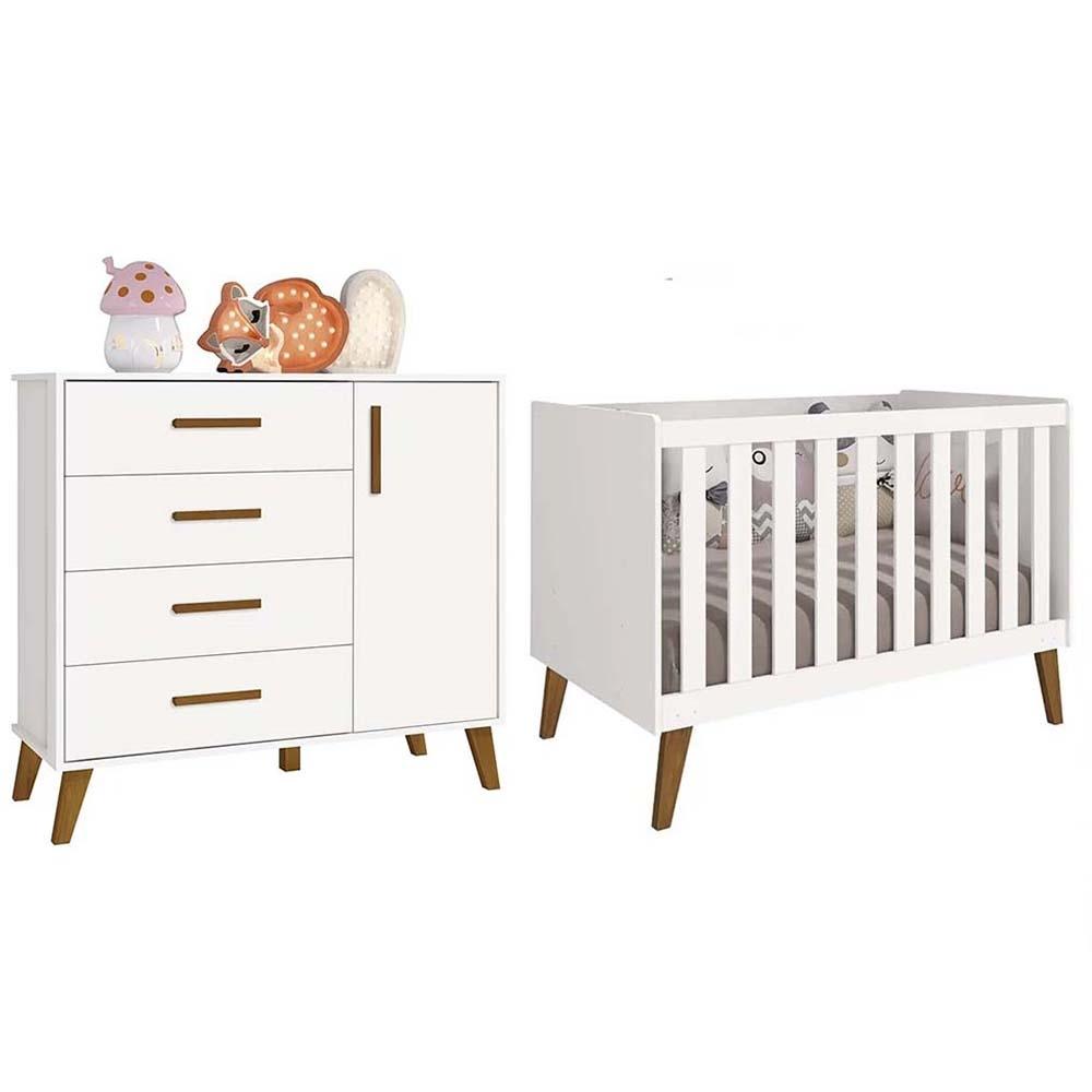Quarto de Bebê com Berço e Cômoda Retrô Ayla Branco - Reller